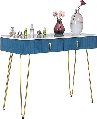 Elegant Vanity Makeup with Drawers, Storage Shelves, Makeup Organizer, 2 Drawers Makeup Vanity Desk Dressing Table (Blue)