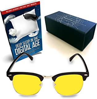 SafetyBlue™ Day Glasses 40% Blue Blocking for Men & Women | Reading Glasses | Gaming Monitors | Computer Glasses | UV Light Protection Glasses | Headache Relief | Non-Prescription Glasses (Yellow)
