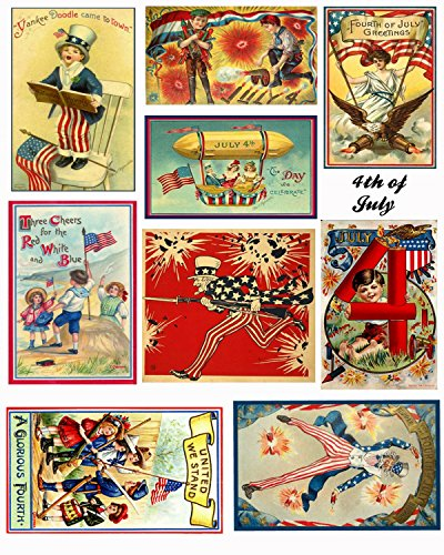 4th of July Vintage Patriotic Images Collage Sheet Collection Print for Scrapbooking, Card Making, Crafts