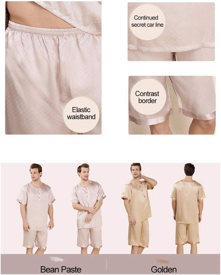 Men's Pajamas Set Short Sleeve Silk Crew Neck Lounge Nightwear Top and Bottom Classic Sleepwear PJs Set Plus Size,Pink,M