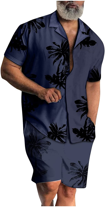 FUNEY Mens Hawaiian Short Sleeve Shirt Suits Tropic Printed 2 Piece Button Down Shirts and Shorts Outfits Mens Pajamas Set