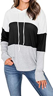 Enggras Women's Hooded Sweatshirts Pullover Long Sleeve Color Block Shirt Casual Lightweight Loose Hoodies Top