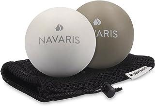 Navaris マッサージボール 2個セット 筋膜 マッサージ - 自己マッサージ 筋膜ボール ラクロスボール トリガー ポイント - フット ローラー トリガーポイント 2 硬度