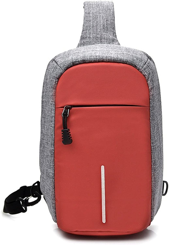 Sling Bag AntiTheft Simple Retro Chest Bag Zipper Waterproof Canvas Messenger Bag Shoulder Bag color Red for Travel Hiking Working School Business Cycling