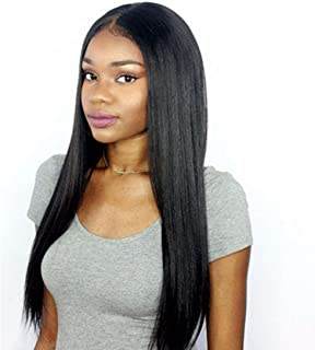 Premier 360 Lace Frontal Wig Light Yaki Straight Brazilian Remy Human Hair Wigs for Women 150% Density 360 Lace Front Wigs Pre Plucked Hairline with Baby Hair 14 inches Natural Color Free Part