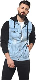 Campus Sutra Denim with Grey Hood Front Pocket Button Closure Jacket