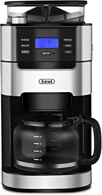 Gevi 10-Cup Drip Coffee Maker, Grind and Brew Automatic Coffee Machine with Built-In Burr Coffee Grinder, Programmable Timer Mode and Keep Warm Plate, 1.5L Large Capacity Water Tank, Removable Filter Basket, 950W, Black