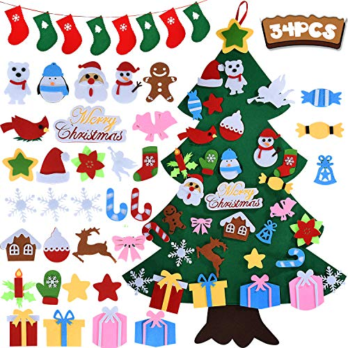 DIY Felt Christmas Tree, Kids Christmas Tree with 34pcs Detachable Ornaments, Christmas Gifts for Kids, Christmas & New Year Door Wall Hanging Decorations