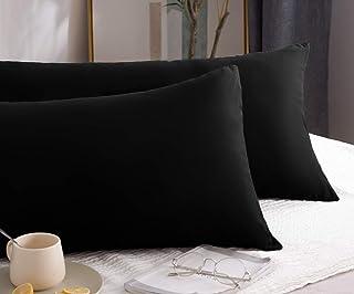 Mohap Lot de 2- Taies d'oreiller 50x70cm Noir Housse d'oreiller avec Une Fermeture Eclair en Microfibre