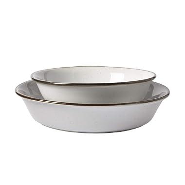 Tabletops Gallery Geneva Serveware Collection- Farmhouse White Brown Stoneware Serving Bowl Platter, 2 Piece Nesting Oval Bowl Set