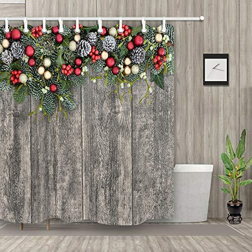 Nyngei Duschvorhang-Set mit Weihnachts-Stechpalme auf Holz, wasserdicht, Polyester, 183 x 183 cm