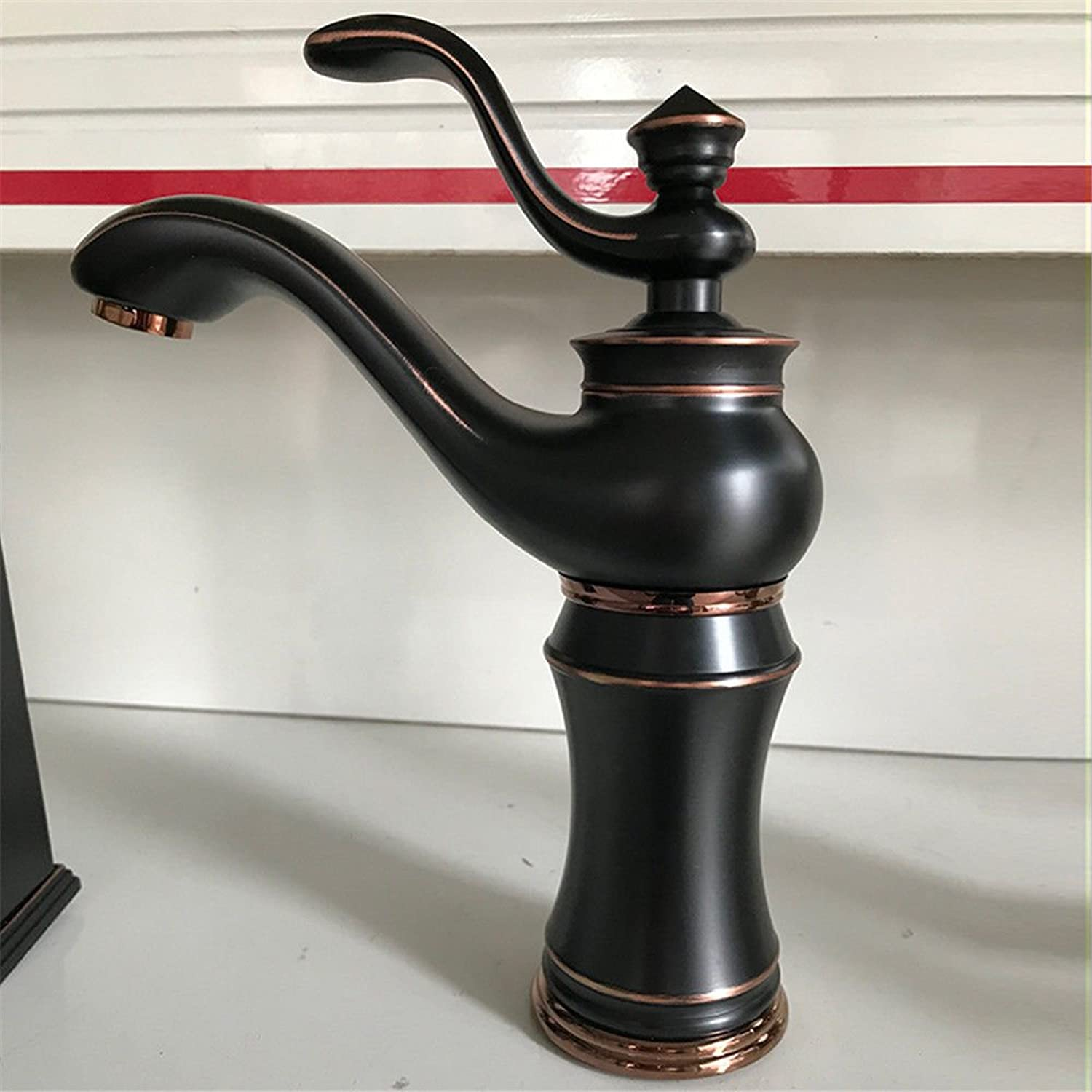 AQMMi Basin Taps Bathroom Sink Faucet Black Bronze Brass Antique Hot and Cold Water Single Hole Hot and Cold Water Bathroom Sink Faucet Basin Mixer Tap