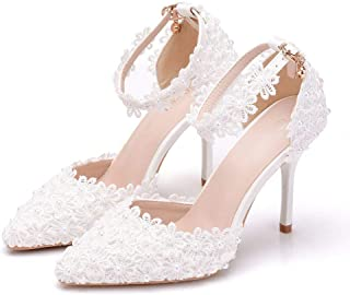 Melesh White Princess Sandals for Women Lace Sweet Wedding Bridal High Heels 10cm