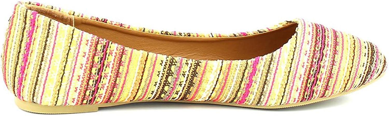Westcoast Fancy-01 Women's Multi-colord Tribal Printed Plush Fashion Flat shoes Pink 8