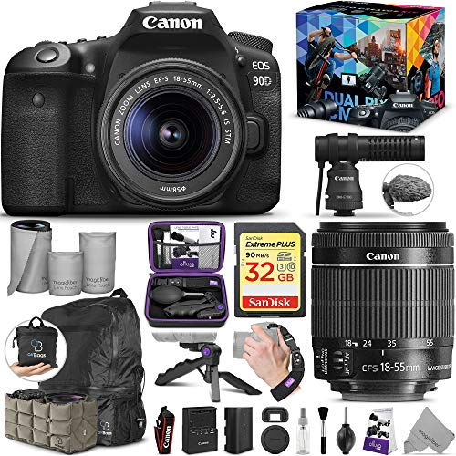Canon EOS 90D DSLR Camera with 18-55mm is STM and Video Creator Kit with Altura Photo Essential Accessory and Travel Bundle