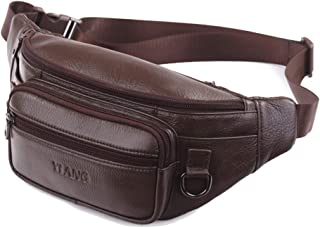 Men's Leather Waist Pack, First Layer Leather Sling Shoulder Bag Outdoor Large Capacity Messenger Bag for Outdoor Casual Sports Running