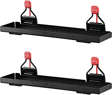 Rubbermaid Outdoor Metal Backyard Storage Shed Accessories Shelf, Small, Black (2 Pack)