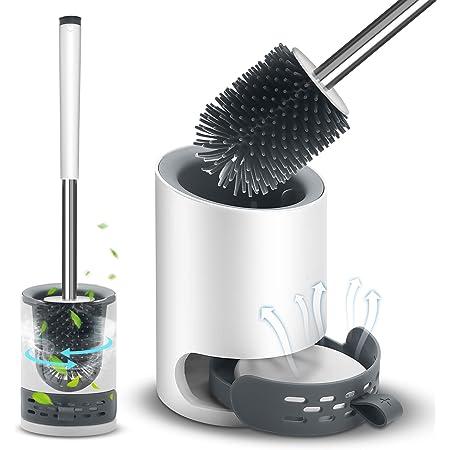 VASG Brosse WC en silicone et support - Kit de brosse WC mural et de support - Kit de support à séchage rapide pour salle de bain et WC d'invités