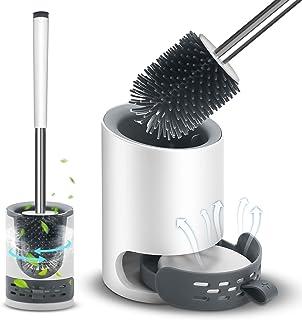 VASG Brosse WC en silicone, brosse WC et support - Kit de brosse WC mural & debout avec support à séchage rapide pour sall...