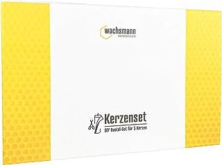 Paint it Red Bienenwachs-Kerzen selber Machen | 100% reines Bienenwachs aus Deutschland | DIY Bastel-Set für 5 Kerzen aus Bienenwachsplatten | Mit Deko-Band und Ausstechformen wachsmann_gelb
