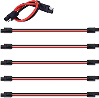"""Miady 5-Pack 12"""" 10 Gauge 2 Pin Quick Disconnect Audiopipe Polarized Wire Harness, Heavy Duty SAE Connector Bullet Lead Ca..."""