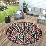 Paco Home In- & Outdoor Teppich Modern Zickzack Muster Terrassen Teppich Bunt, Grösse:Ø 160 cm Rund