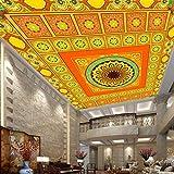 Murales de pared 3D personalizados Papel tapiz para paredes Templo Vestíbulo Techo Fresco Sala de estar Mural de techo Papel tapiz fotográfico Revestimiento de paredes-280X200CM