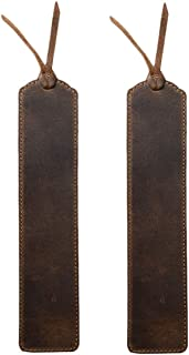 Hide & Drink, Deluxe Leather Bookmark, (7.5 in.) Long (2 Pack) / Classic Bookmark/Stitched Bookmark, Handmade :: Bourbon B...