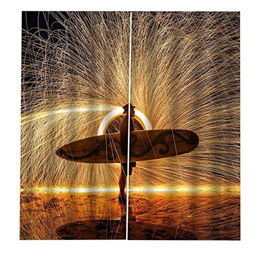 ASNIVI Cortinas Cortas para Ventanas Olas Surf Fuegos Artificiales Creatividad 2 X 34 X 54 Inch 3D Digital Impresión Cortina Aislante Cortina Opaca para Dormotorio Habitacion Sala Salon Decór Ventana