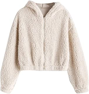 Kulywon Fashion Women Solid Zipper Long Sleeve Plush Sweatershirt Hoodie Tops
