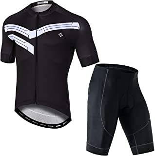 Unkoo Black Simplicity Men's Summer Short Sleeve Cycling Jersey Shirt + 3D Padded Riding Tights Shorts Bicycle Road MTB Bike Shirt Outdoor Sports Ropa Ciclismo Triathlon Clothing