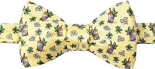 Men's 100% Silk Yellow Mint Julep Kentucky Derby Horse Racing Self Tie Bow Tie