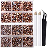 LPBeads 6400 Pieces Hotfix Rhinestones Rose Gold AB Flat Back 5 Mixed Sizes Crystal Round Glass Gems with Tweezers and Picking Rhinestones Pen
