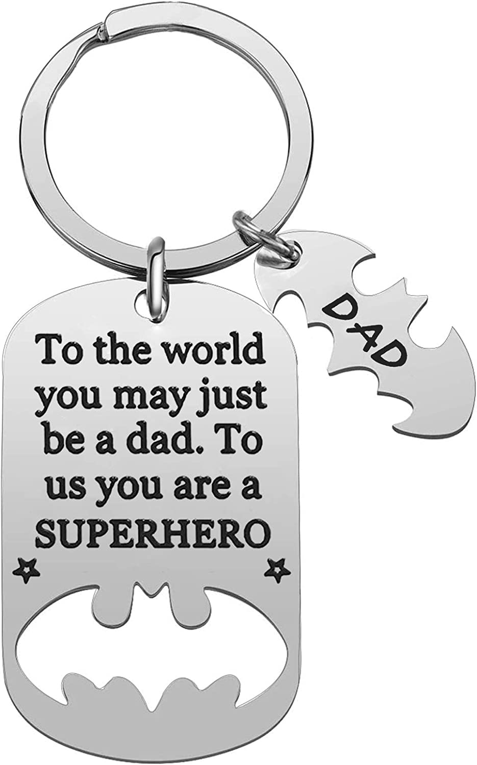 Dad Keychain Dad Gifts from Son Daughter Christmas Gift Father's Day Gift for Dad Papa Daddy Stepdad from Kids Son Daughter In Law Valentine's Day Present To The World You May Just Dad Keyring