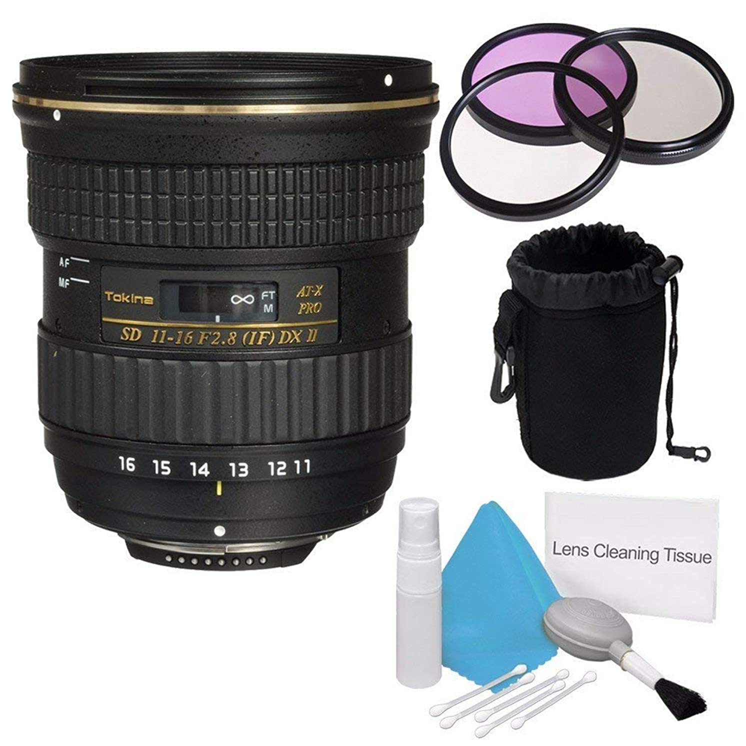 Tokina 12-28mm f/4.0 at-X Pro APS-C Lens for Canon (International Model) +Deluxe Cleaning Kit + 77mm 3 Piece Filter Kit + Deluxe Lens Pouch