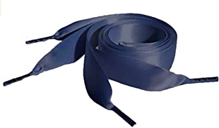 Navy Flat Satin Ribbon Shoelaces, Shoe Laces - Ideal for Converse, Nike, VANS, Addidas, Reebok, Puma Trainers