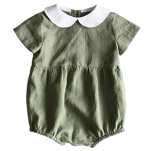 41d7c55baf5 LOTUCY Toddler Girls Summer Short Sleeve Turn Down Collar Romper One Piece  Jumpsuit
