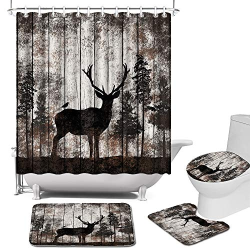 Elk Shower Curtain Sets with Rugs, Toilet Lid Cover and Bath Mat Wildlife Animal Woodland Bath Curtain Sets Vintage Brown