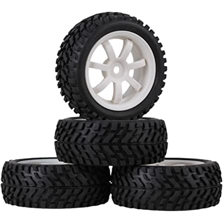 4Pcs Wheel Tyres Flower Pattern 26mm Width for RC1:10 On Road Racing Car Black
