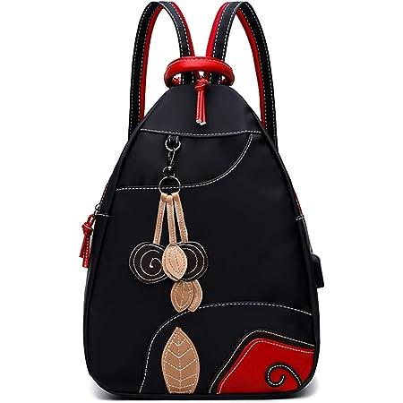 Jywmsc Damen Stilvoll Nylon Leicht Rucksack Schultertasche Draussen Brusttasche mit USB-Ladeanschluss