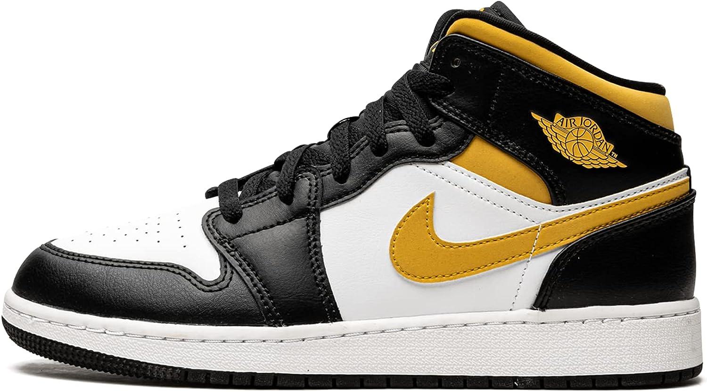 Jordan Mens Air Jordan 1 Mid GS 554725 177 Pollen/Black/White - Size