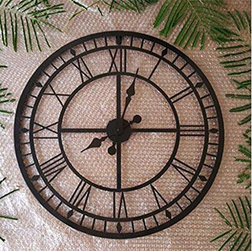 MNMKJH,Continental, números romanos, reloj de pared grande, país americano retro, metal, marco de hierro forjado, hacer el antiguo hueco, reloj, Un 56cm sección de diámetro