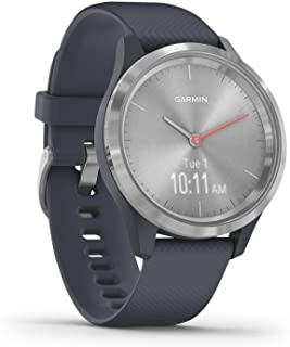 Garmin vívomove 3S, Hybrid Smartwatch with Real Watch Hands and Hidden Touchscreen Display, Silver with Granite Blue Case ...