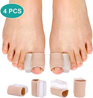 Pack of 4 Hallux Valgus Hammertoe Straightener Toe Separators Bunion Corrector and Relief with Toe Spacers Gel Tube Sleeve for Toe Alignment, Overlap Toes, Hammer Toe in Shoes