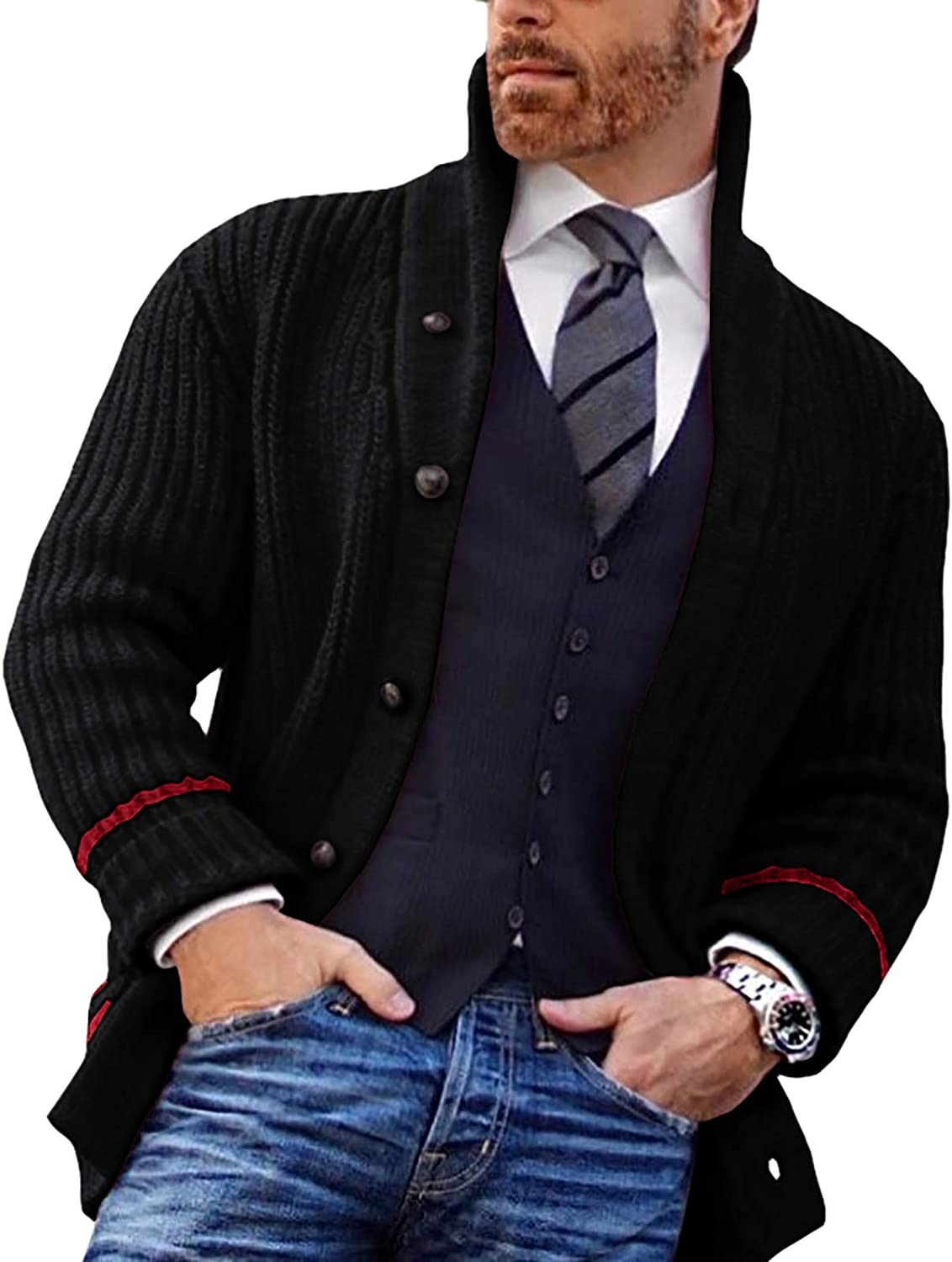 Ryannology Mens Shawl Neck Cardigan Sweater Up Cable Knit Zip Cl Save money Store