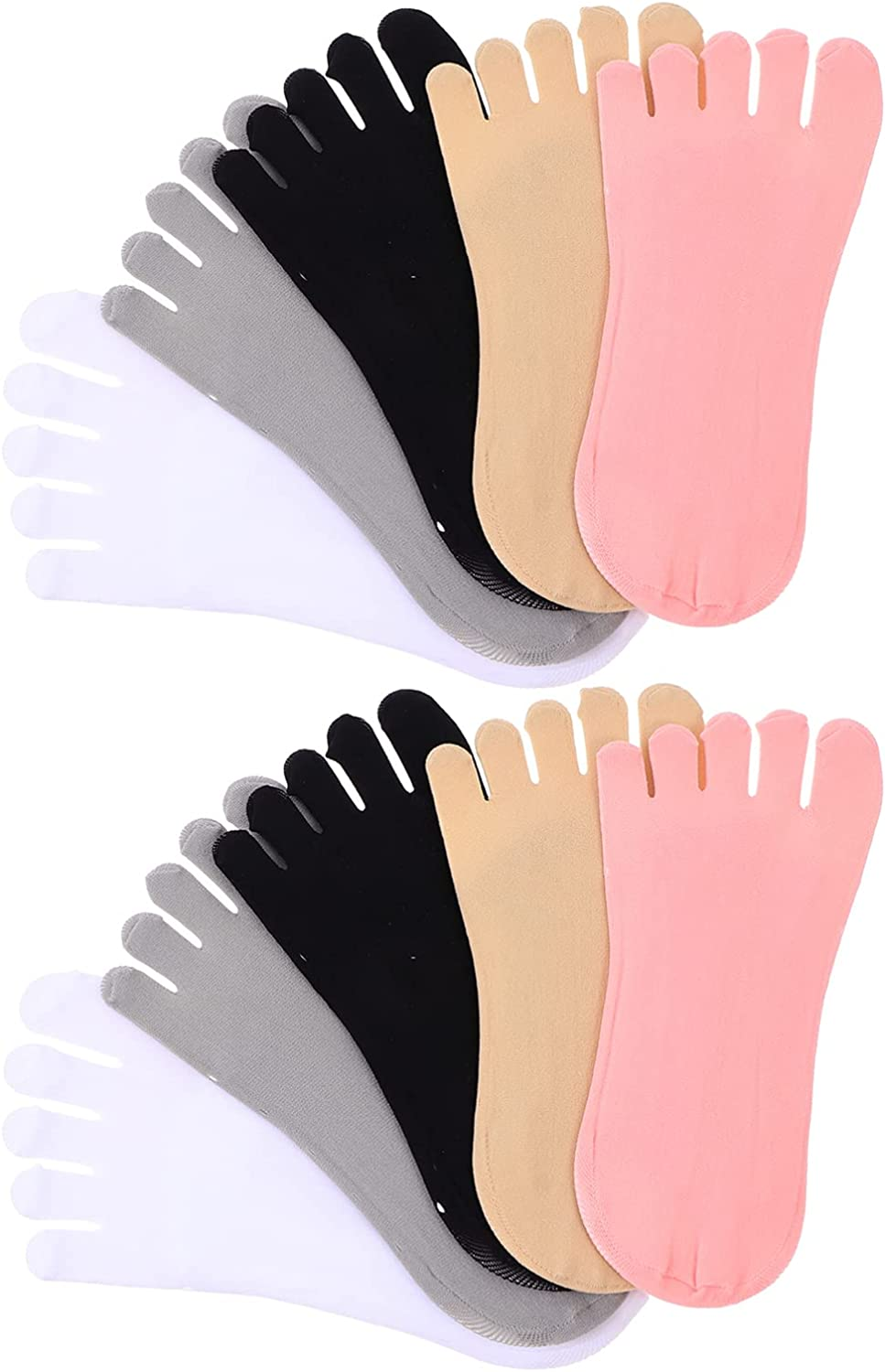 EXCEART Invisible No Show Lace Socks Invisible Non Slip Five Finger Flat Boat Liner Toe Socks 5Pairs
