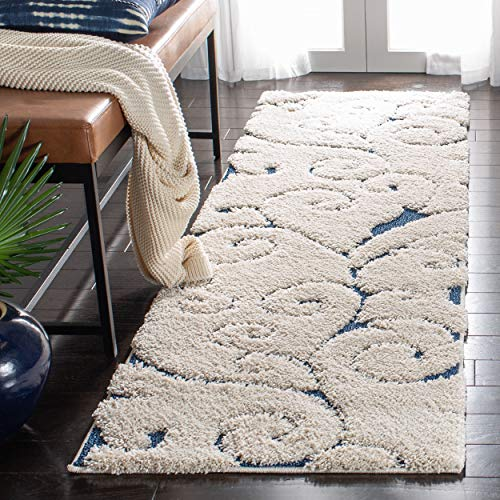 Safavieh Florida Shag Collection SG455-1165 Scrolling Vine Graceful Swirl Textured 1.18-inch Thick Runner, 2