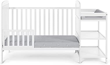 Suite Bebe Ramsey 3 in 1 Convertible Crib and Changer in White - Quick Ship