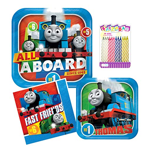 Thomas the Train Birthday Party Supplies Pack 56pc for 8: includes |Large Plates | Dessert Plates | Luncheon Napkins| Birthday Candles