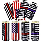 4 Pieces Neoprene Slim Can, American Flag Slim Can Cooler, Thin Blue Skinny Can Cooler Sleeve for Police and Firefighter or Those Who Love Red Blue and White